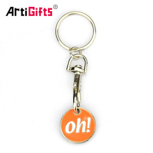 3D design metal keyring supermarket shopping cart chip trolley token coin keychain