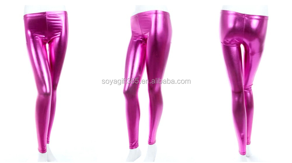 Elastic Leggings Pencil Pants Sexy Rose Candy Color Faux Leather Slim