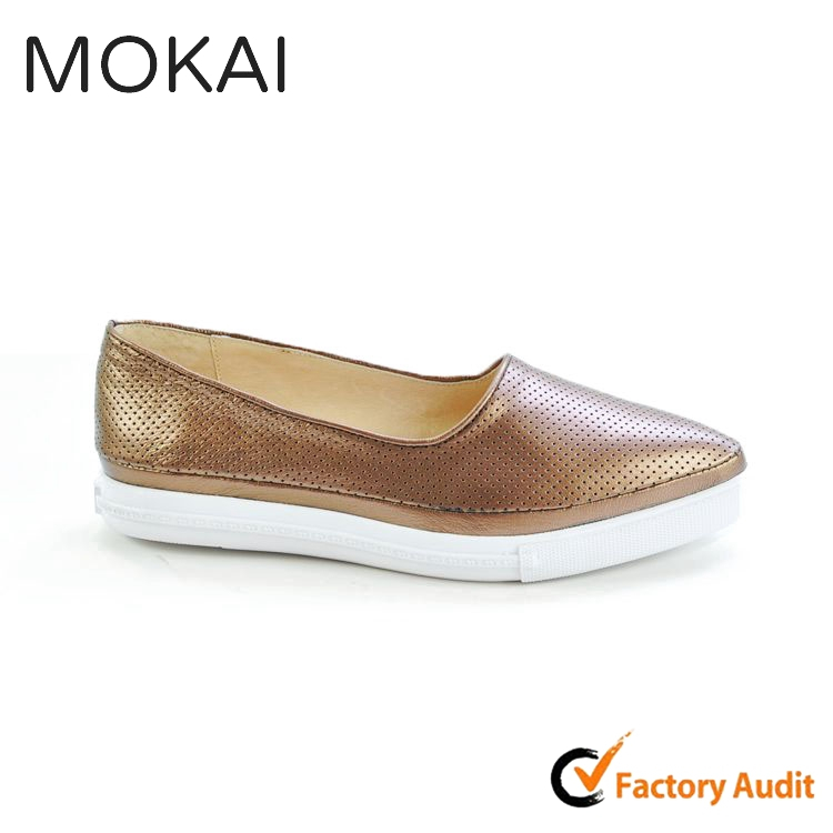 MK082-2 BRONZE light color pointed toe comfortable soft sole girls loafer casual shoes