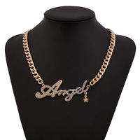 New Arrival fashion classical zircon Letters Angel gold&silver chocker necklace