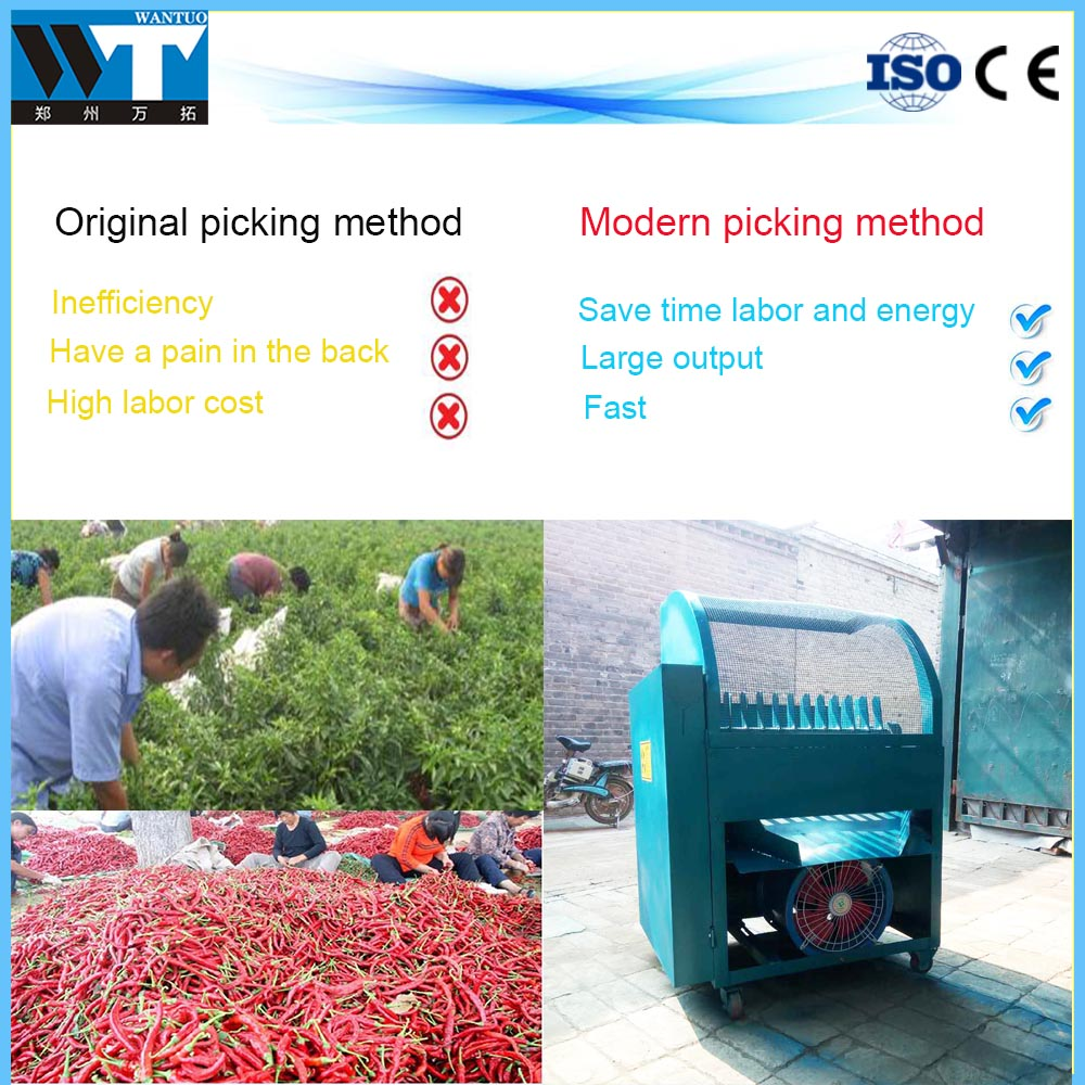 Automatic farm use red chili picking machine /pepper picker harvester with high capacity