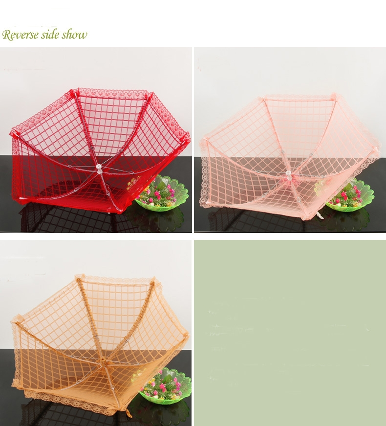 The new high-grade folding table food cover with lace net round mesh food cover,mosquito food cover