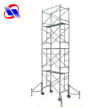 Light weight steel moving scaffolding material with removable wheels and ladders