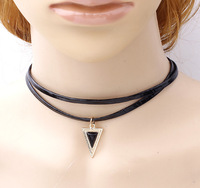 Simple Black Leather Choker Necklaces Collar Necklace Enamel Triangle Metal Pendant Charming Necklaces For Women
