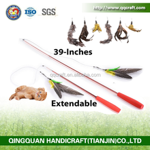 QQPet Toy Telescoping Fishing Rod Spin Feather Cat Toy Cat Fishing Rod Toy