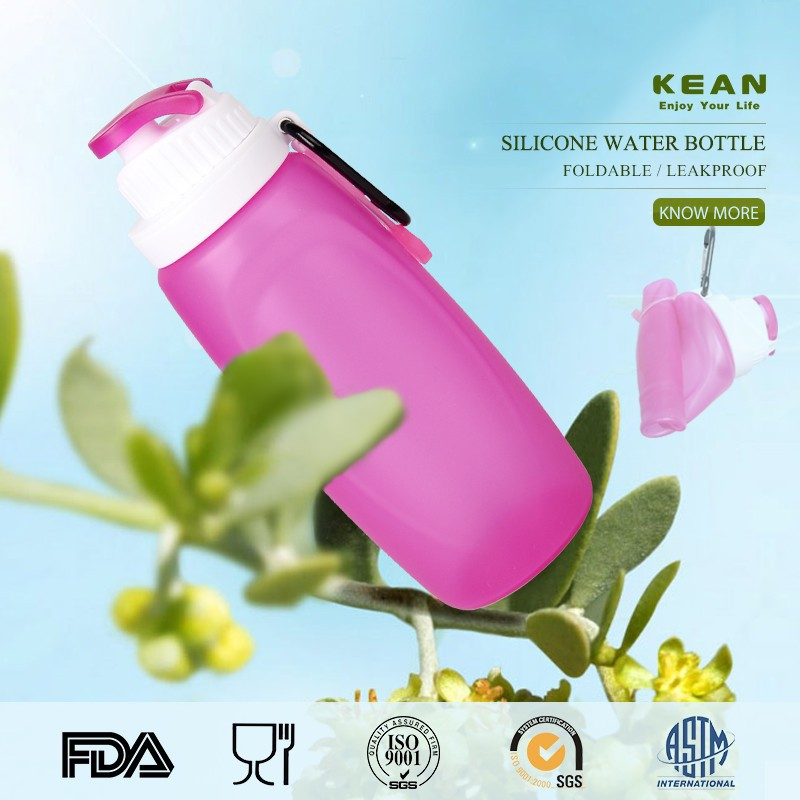 2015 New design eco-friendly soft silicone acrylic water bottle