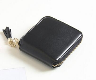Korean simple style black red square lady wallet short leather zipper small wallet tassel mini coin purse