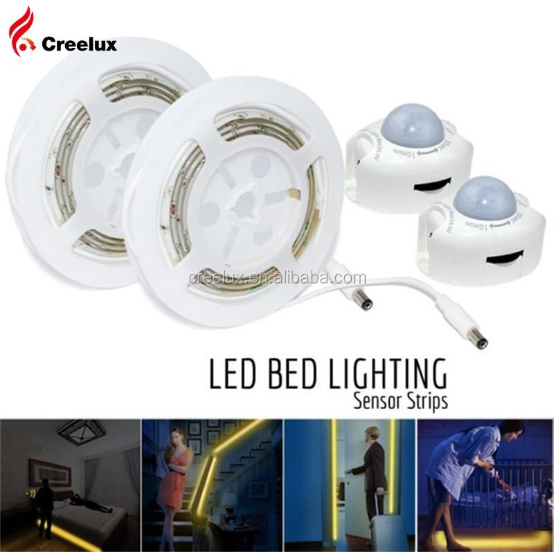 Motion Activated LED Bed Light Strip, 120CM/150CM Flexible LED Strip Night Illumination with Automatic Shut Off Timer Sensor