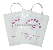 Manufacturer OEM white HDPE plastic shopping bag with strong loop