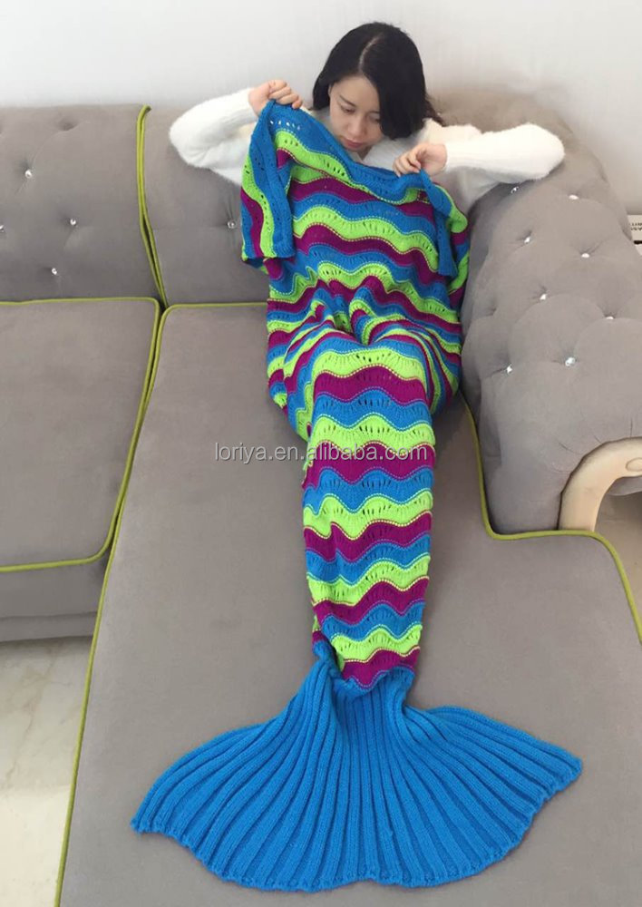 Best winter blanket cute design lovely colorful 100% acrylic crocheted thick knited wave mermaid tail blanket
