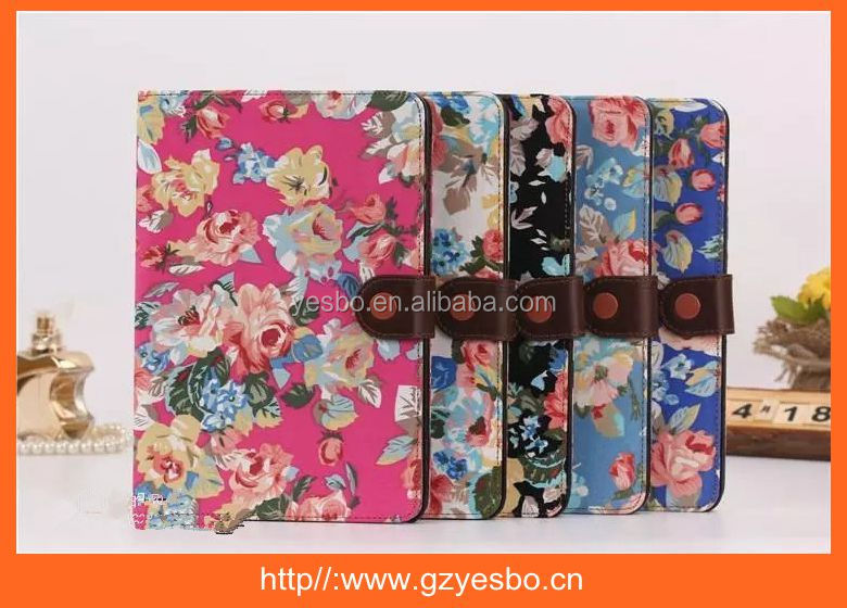 ultra-thin flower design stand leather case with buckle for ipad 5 mini