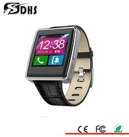 hot sell cheapest leather band wrist watch smart watch phone with camera bluetooth 4.0
