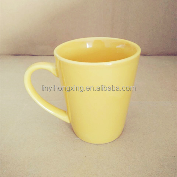 Glazed light shiny yellow color beautiful cup orange 11oz ceramic funnel mug