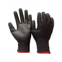 Black Cut Resistant PU Palm Coated Gloves for Construction