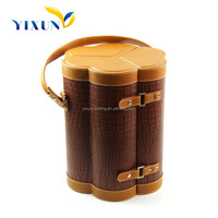 Customize handmade PU Leather Wooden Wine Packaging Gift Box/Wine Bottle Carrier Case