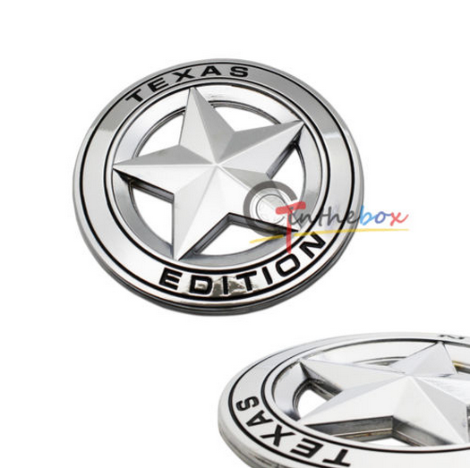 Silve Metal 3D Texas Edition Emblem Badges For Ford F-150 F-250 F-350