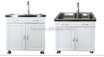 Factory double sink used bathroom vanity cabinet with Stainless steel countertop