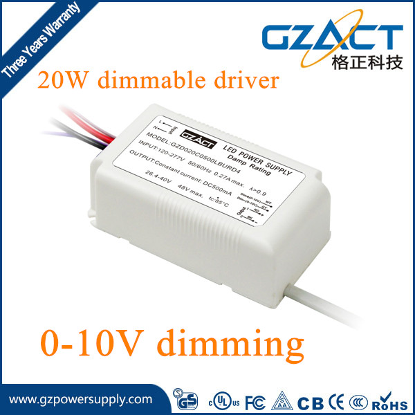 TUV SAA CE approved 20W 400mA/1000mA CONSTANT CURRENT 0-10v dimmable led driver