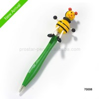 wooden craft pen with bees on the top good for promotion gift