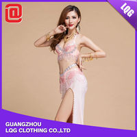 New designed sequin beads fringe decorated best belly dance dress for farewell party
