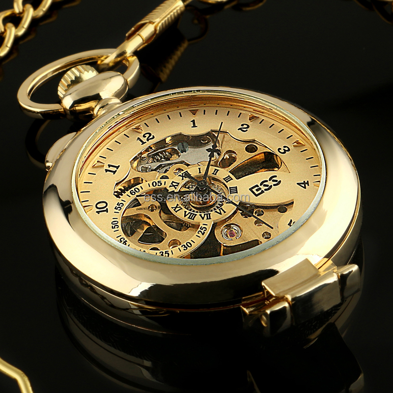 WP142-ESS 2015 Gold tone Steel Vintage Antique Style Pocket Watch On Chain Good Quality