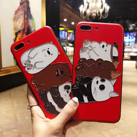 Strong Embossing Ploar Bear Panda bumper Phone Cases for iPhone 8 plus for iPhone X Cartoon Case Animal