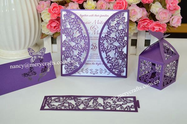 Butterfly cheap wedding cards laser cut invitation cards wedding invites wholesale