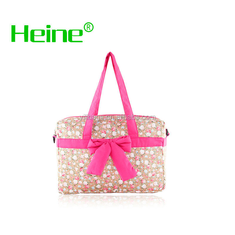 Cotton canvas bag pink lining H10130 designer leather diaper bags