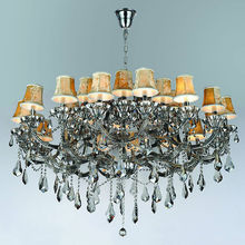 Large Crystal Chandelier With Lampshade Floor Lamp Closeout