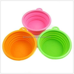 Non-toxic colorful food grade silicone collapsible dog bowl