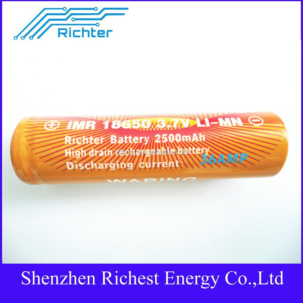 Hot sell 18650 battery electric bicycle lithium high power battery IMR18650 3.7V 2500mAh 36A rechargeable battery