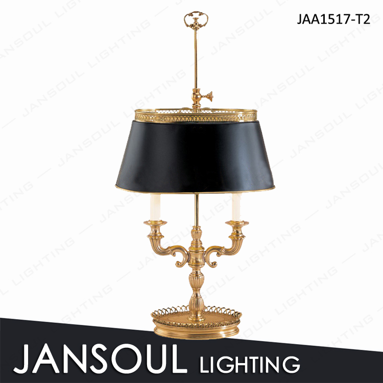 Brass Table Lamps For Living Room: Vintage Black Shade Brass Table Lamp For Living Room