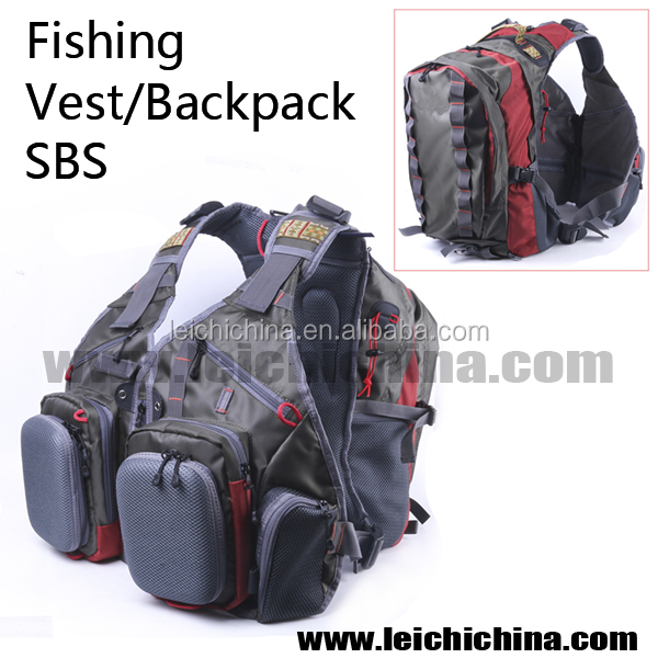 high quality chinese fishing sports fly fishing vest with backpack