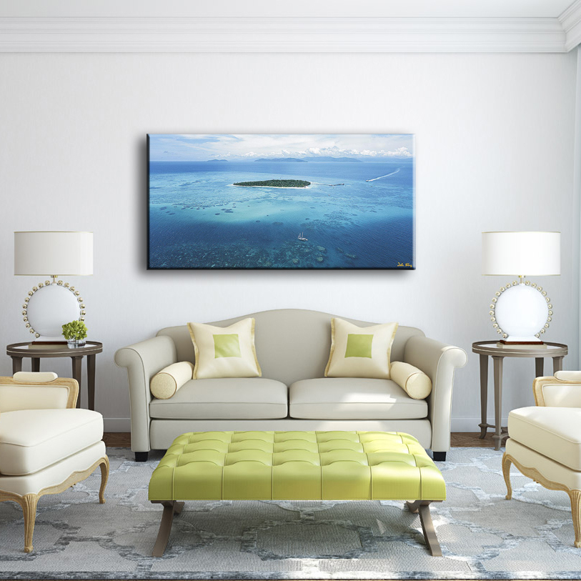 Beautiful sea scenery sample picture of modern chinese wall art painting