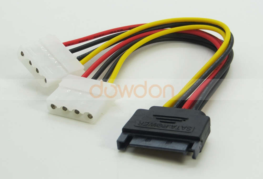 15Pin SATA Male to Dual IDE 4Pin Female IDE Cable Splitter Computer HDD Sata Power Cable
