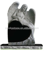 Cheap Absolute Black Granite Angel Sculpture Heart Shape Gravestone