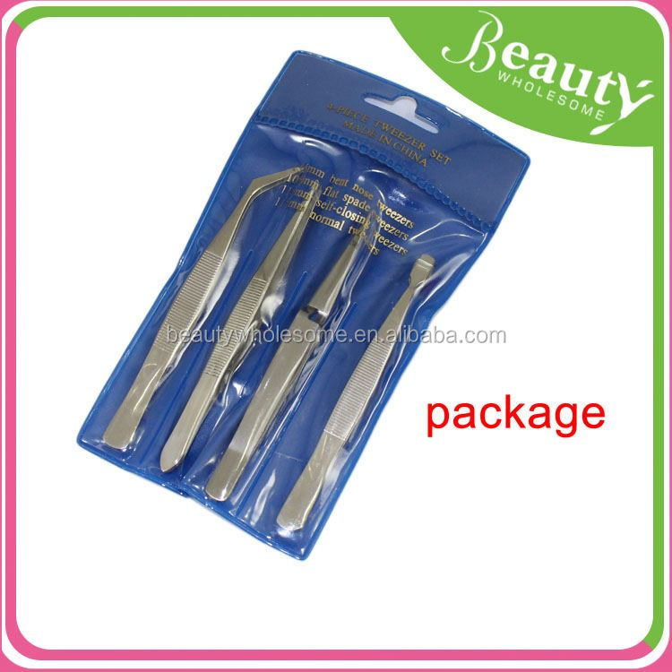 2015 red stripe eyebrow tweezers ,H0T029, wholesale cheap 4 pcs Tweezer kit