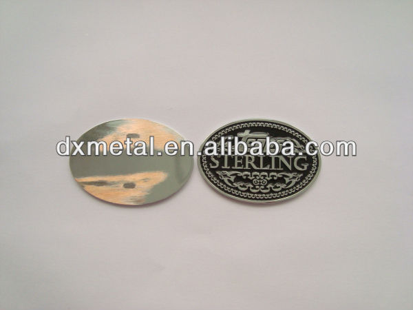 round metal small silver hang tag