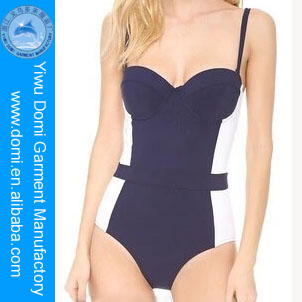 Domi Wholesale Dark Blue and White Sexy Push Up Bikini Swim Costumes For Women/One Piece Swimsuit China Sex Girls Photos