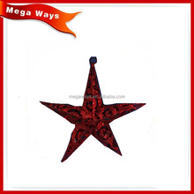Large metal hanging christmas red star for indoor decorations