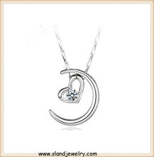 Moon and heart 925 sterling silver necklace chains, Sland fashion jewelry wholesale from China