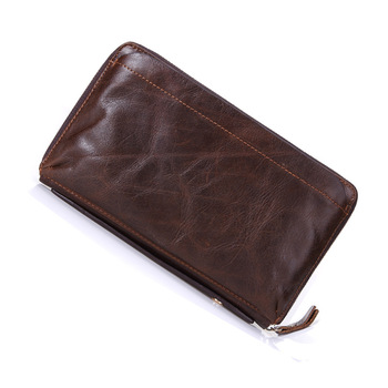 Wholesale popular vintage leather long card holder purse men's hand casual wallet