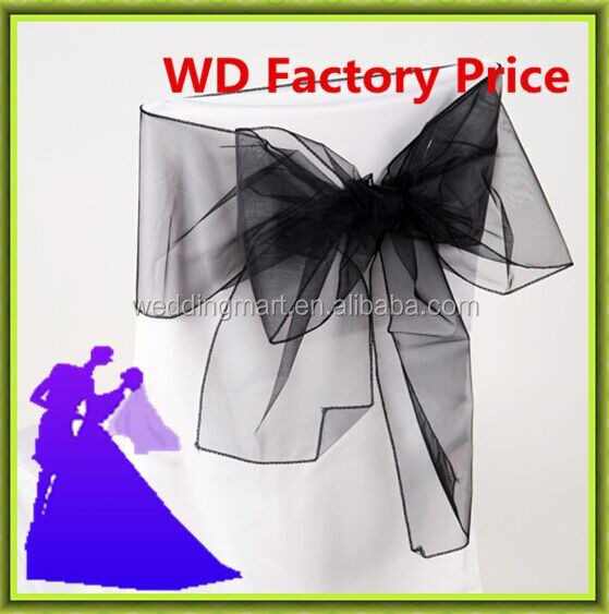 wholesale Fancy colorful organza chair sash wedding chair sashes banquet chair sash