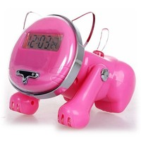 Led animal shaped snooze talking alarm clock/cat robot anime sleep training alarm clock/Talking Cat Desk intelligent clock