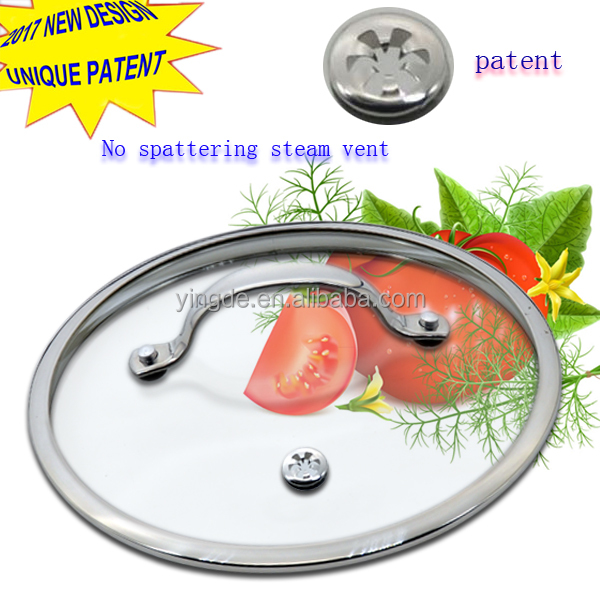 Patent vent pots and pans cover tempered glass lid with stainless steel handle