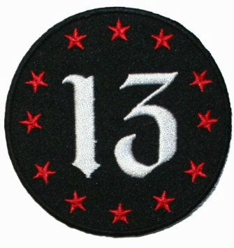 Number 13 with Twelve Red Stars Iron On Biker/Jeans Applique Patch