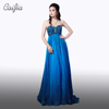 CAIJIA Blue Heavy Embroidery Strapless Prom Dress Ruched Beading Long Evening Dress With Long Train