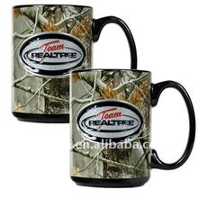 15oz Black colour glazed ceramic mug with clients PMS HF-FC23(FDA)