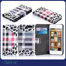 High quality fashion for ipod touch 5 wallet stand flip case cover