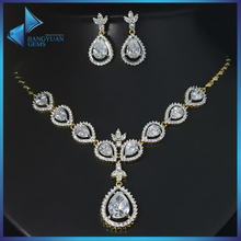 T0072 Dubai Gold Plated CZ Gemstone Jewelry Brass Sets